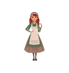 Medieval maid character in traditional dress vector