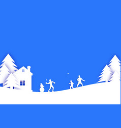 merry christmas and happy new year origami winter vector image