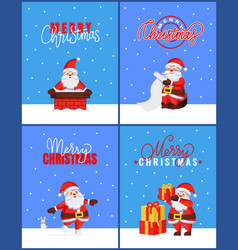 merry christmas set cards with santa hold wishlist vector image