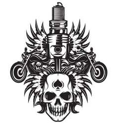 Monochrome image on motorcycle theme with skull vector