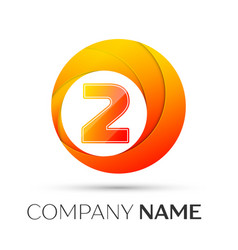number two logo symbol in the colorful circle on vector image