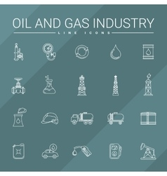 Oil And Gas Industry Line Icons vector