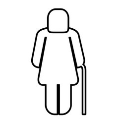 Old woman figure silhouette vector