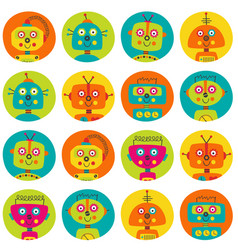 Pattern with colorful robots in circle vector