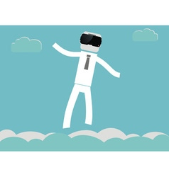 People flying in vr glasses vector