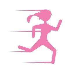 Pink silhouette girl running sport vector