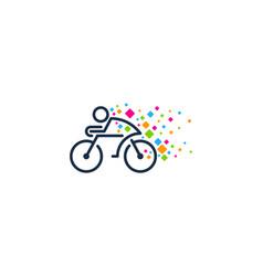pixel bike logo icon design vector image