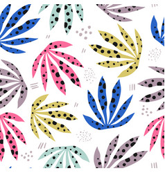 plants spotty leaves hand drawn seamless pattern vector image