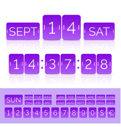 Purple flip calendar with flat countdown timer vector