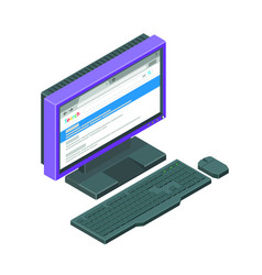 purple monitor with browser open with keyboard vector image