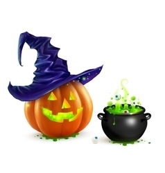 Realistic Halloween pumpkin in violet witch vector
