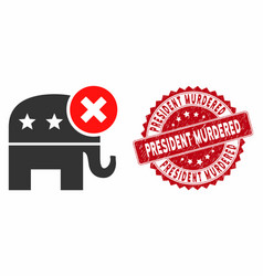 Reject republican icon with grunge president vector