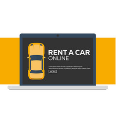 Rent a car concept of web banner flat vector