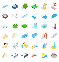 Sea water icons set isometric style vector