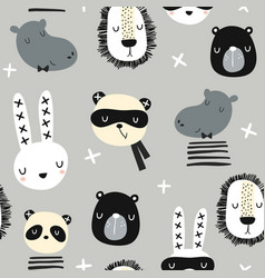 seamless childish pattern with stylish monochrome vector image