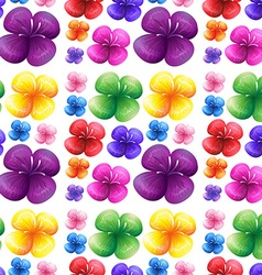 Seamless colorful flowers on white background vector image