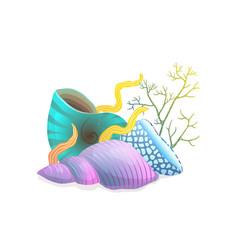 Seashells composition with algae and corals vector