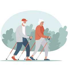 senior couple making nordic walking training vector image