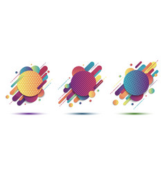 set abstract colorful geometric pattern vector image