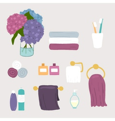 Set bathroom and personal hygiene icons vector