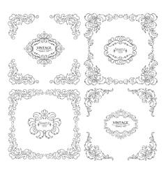 set decorative floral elements vector image