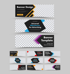 set horizontal black web banners with colored vector image