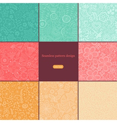 Set of eight colorful floral patterns seamlessly vector image