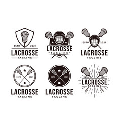 set vintage seal badge lacrosse sport logo vector image