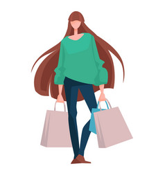 shopping woman with bags stylish outfit buying vector image