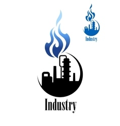 Silhouette of refinery factory with blue flame vector image