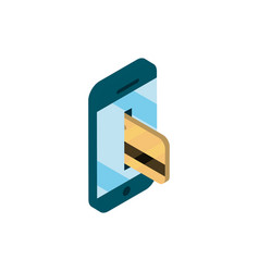 Smartphone bank card online shopping isometric vector