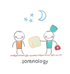 somnology gives the patient a sleep pillow vector image