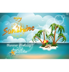 Summer holiday design with paradise island vector