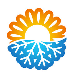 Sun and snowflake symbol conditioning vector