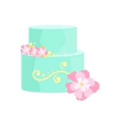 Tall Cake With Blue Icing And Pink Flowers vector