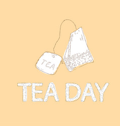 tea day background with elegant tea bag vector image