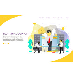 Technical support landing page website vector