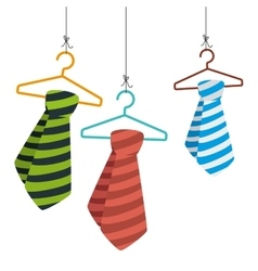 Tie male fashion hanging in hook isolated icon vector