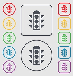 Traffic light signal icon sign Symbols on the vector