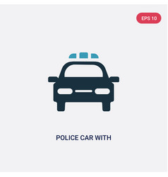 Two color police car with lights icon from vector