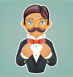 Victorian gentleman businessman character mascot vector