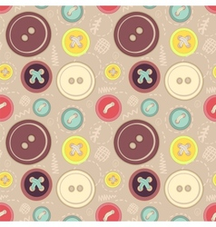 Vintage buttons sew seamless pattern vector image