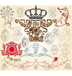vintage heraldry design elements vector image