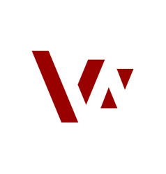 w negative space letter logo red color vector image