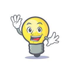 waving light bulb character cartoon vector image
