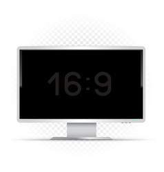 white 16 to 9 computer monitor vector image