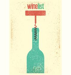 Wine list typographical vintage grunge poster vector