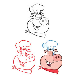 Winking chef pig face character collection vector