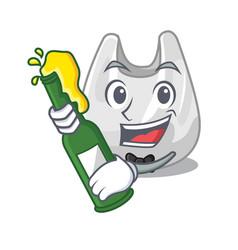 with beer plastic bag mascot cartoon vector image