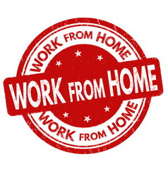 Work from home grunge rubber stamp vector